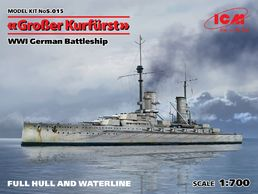 WW1 German Battleship Groβer Kurfürst 1/700
